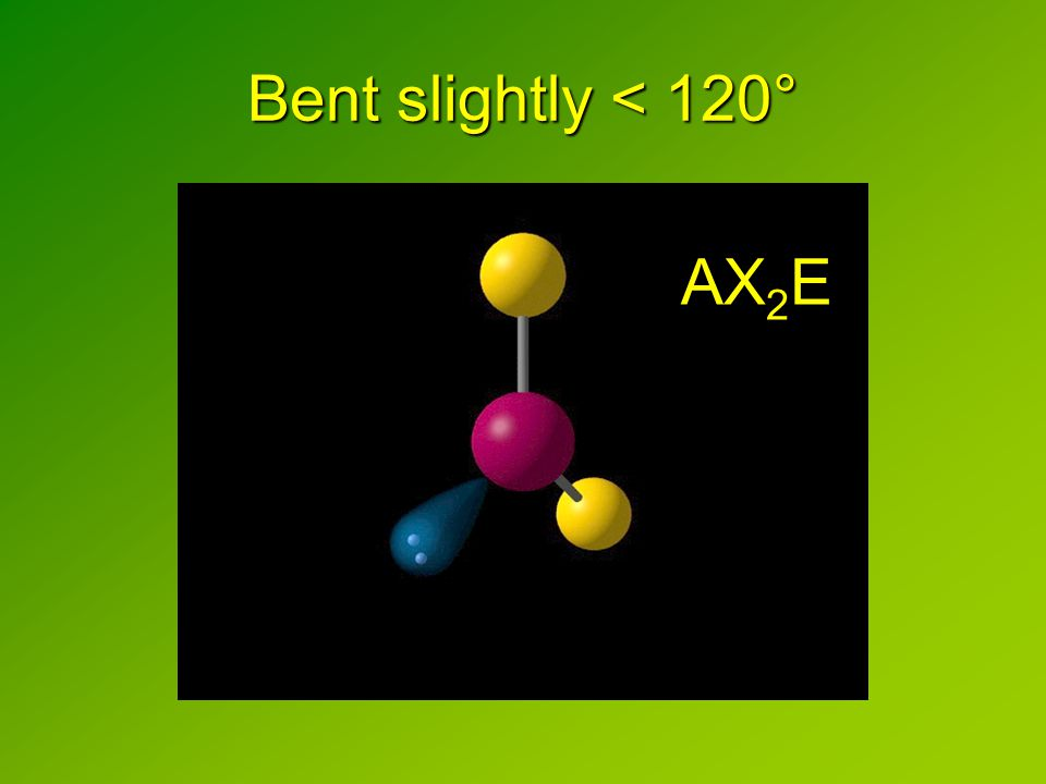 Bent slightly < 120° AX 2 E