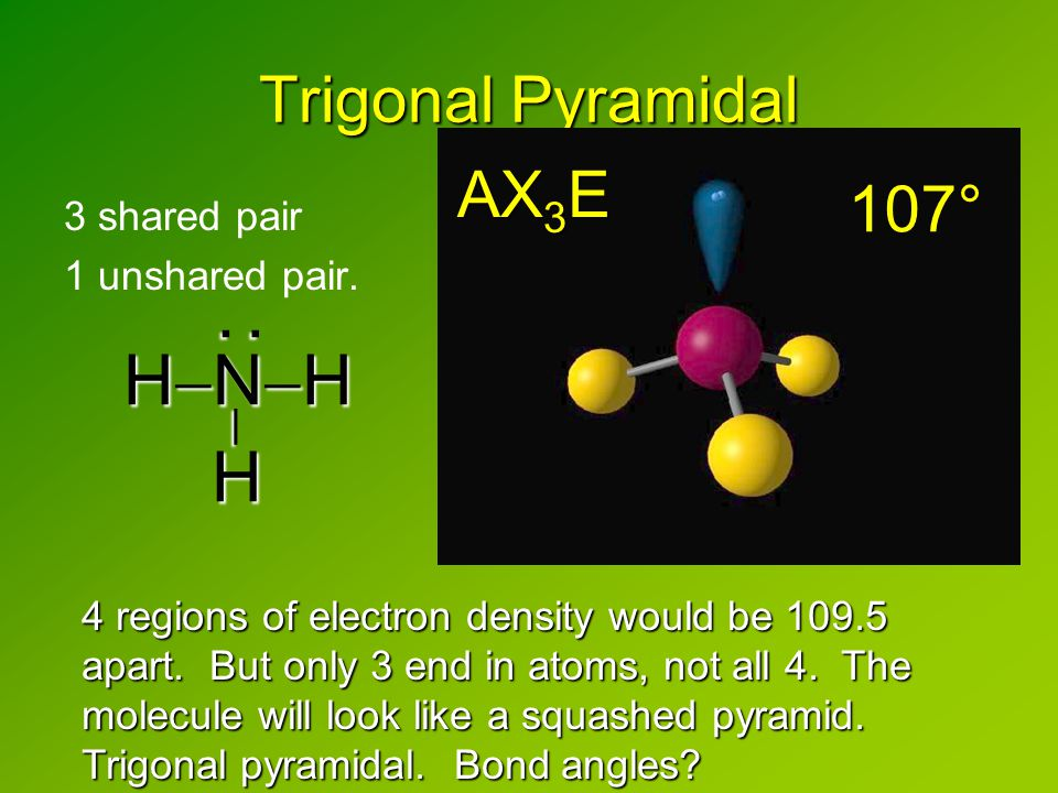 Trigonal Pyramidal 3 shared pair 1 unshared pair.