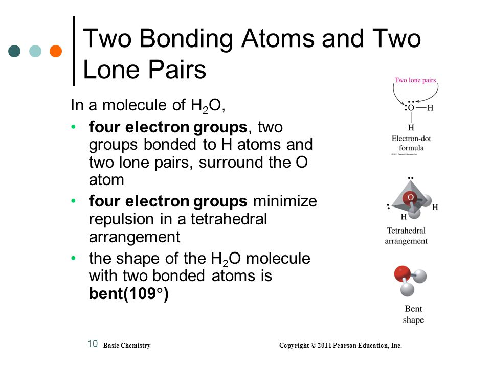 Basic Chemistry Copyright © 2011 Pearson Education, Inc. 10 Two Bonding Atoms and Two Lone Pairs In a molecule of H 2 O, four electron groups, two gro
