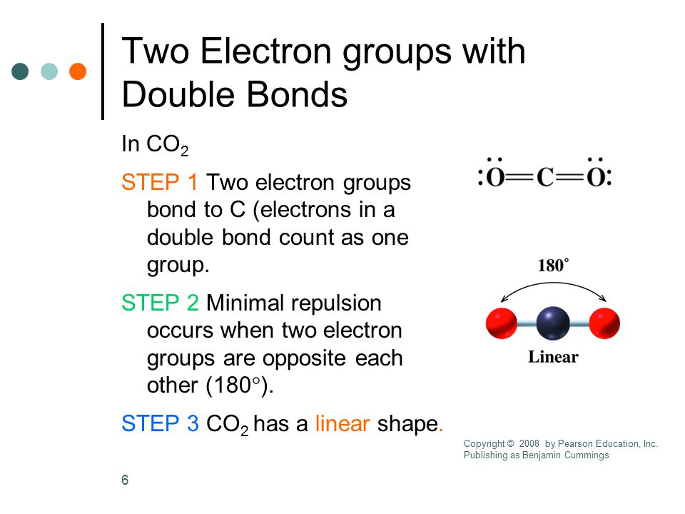 6 Two Electron groups with Double Bonds In CO 2 STEP 1 Two electron groups bond to C (electrons in a double bond count as one group. STEP 2 Minimal re