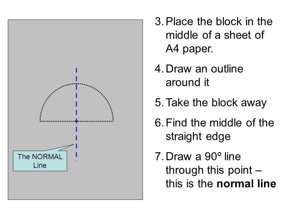 11.Gradually make the angle of incidence larger until the angle of refraction is 90º Note if there is a reflected ray present as well The NORMAL Line i r