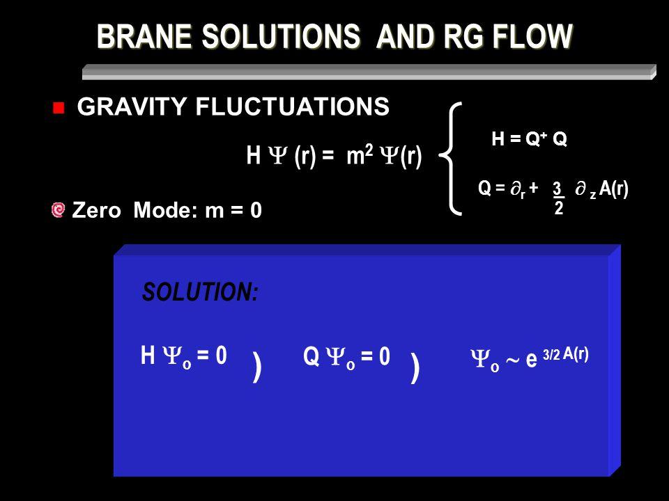 BRANE SOLUTIONS AND RG FLOW GRAVITY FLUCTUATIONS SOLUTION: Zero Mode: m = 0 H  (r) = m 2  (r) H = Q + Q Q =  r + 3  z A(r) _ 2 H  o = 0 ) Q  o = 0 )  o  e 3/2 A(r)