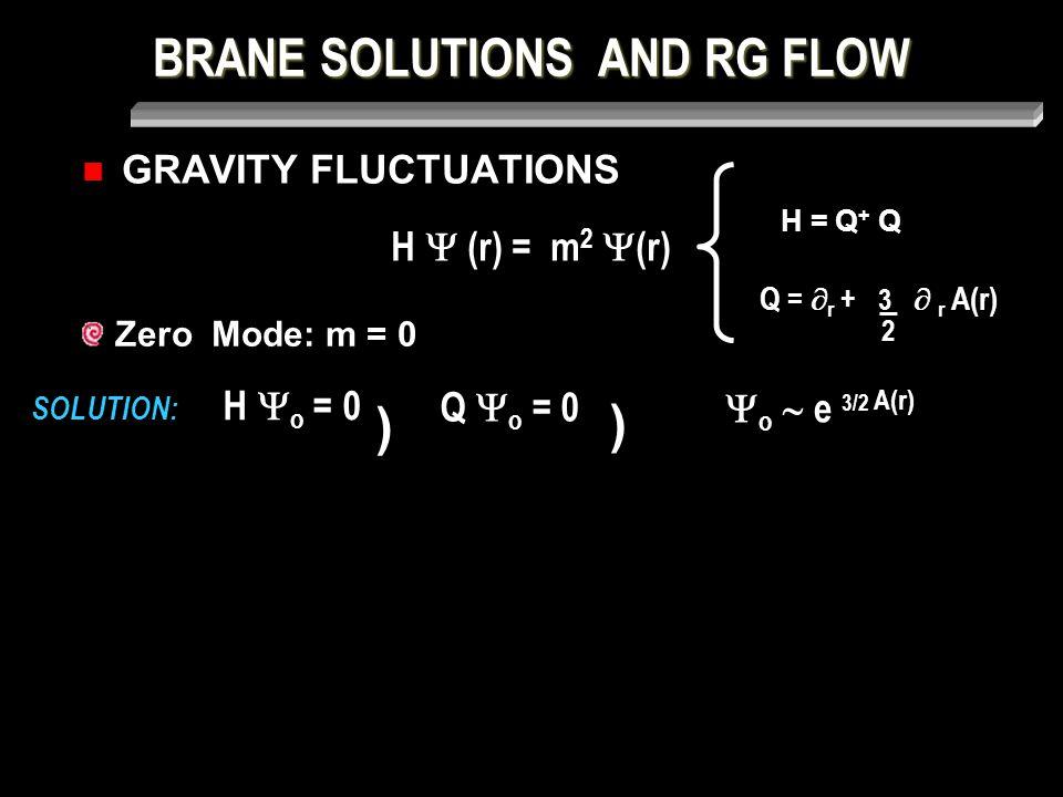 BRANE SOLUTIONS AND RG FLOW GRAVITY FLUCTUATIONS SOLUTION: Zero Mode: m = 0 H  (r) = m 2  (r) H = Q + Q Q =  r + 3  r A(r) _ 2 H  o = 0 ) Q  o = 0 )  o  e 3/2 A(r)