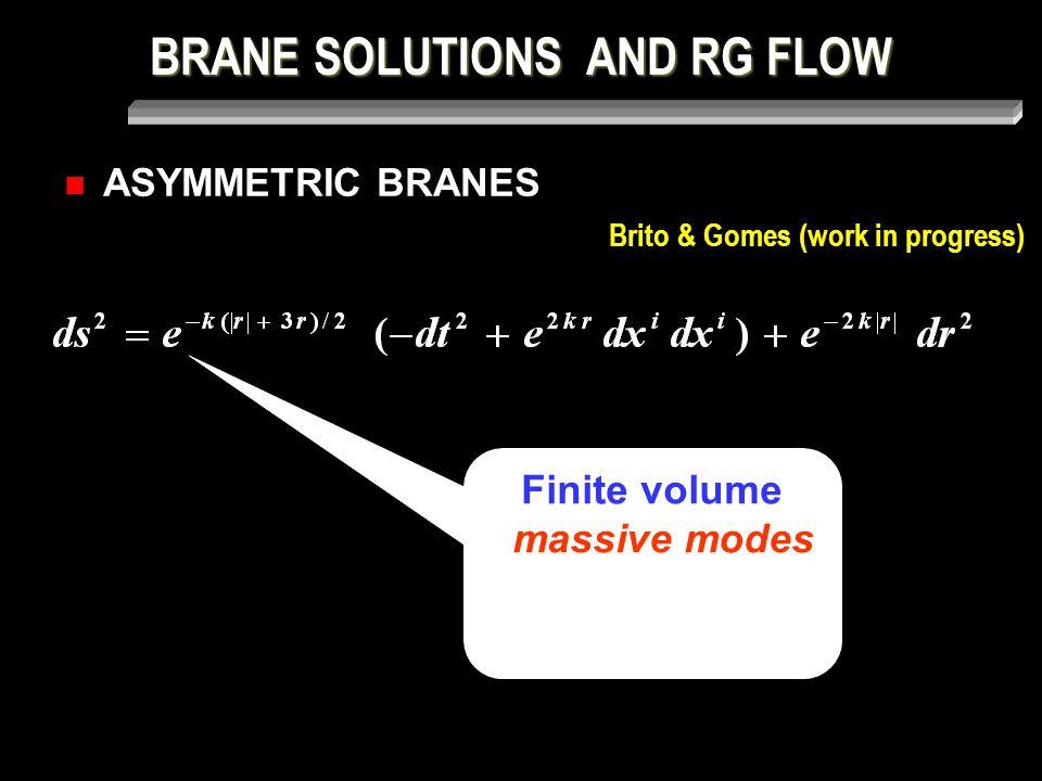 BRANE SOLUTIONS AND RG FLOW ASYMMETRIC BRANES Brito & Gomes (work in progress) Finite volume massive modes