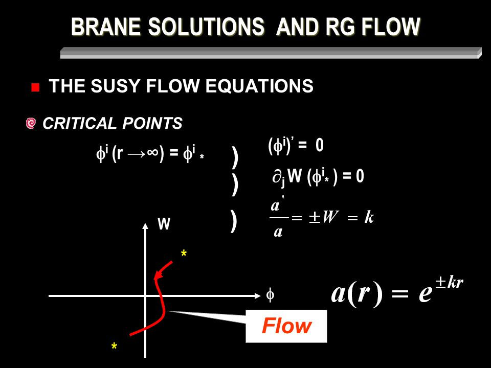 BRANE SOLUTIONS AND RG FLOW THE SUSY FLOW EQUATIONS CRITICAL POINTS  i (r →∞) =  i * ) (  i ) ' = 0 )  j W (  i * ) = 0  W * * Flow )