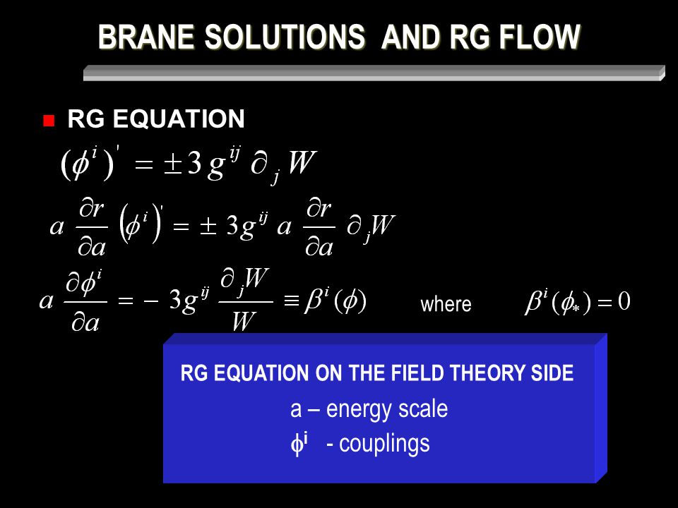BRANE SOLUTIONS AND RG FLOW RG EQUATION where a – energy scale  i - couplings RG EQUATION ON THE FIELD THEORY SIDE