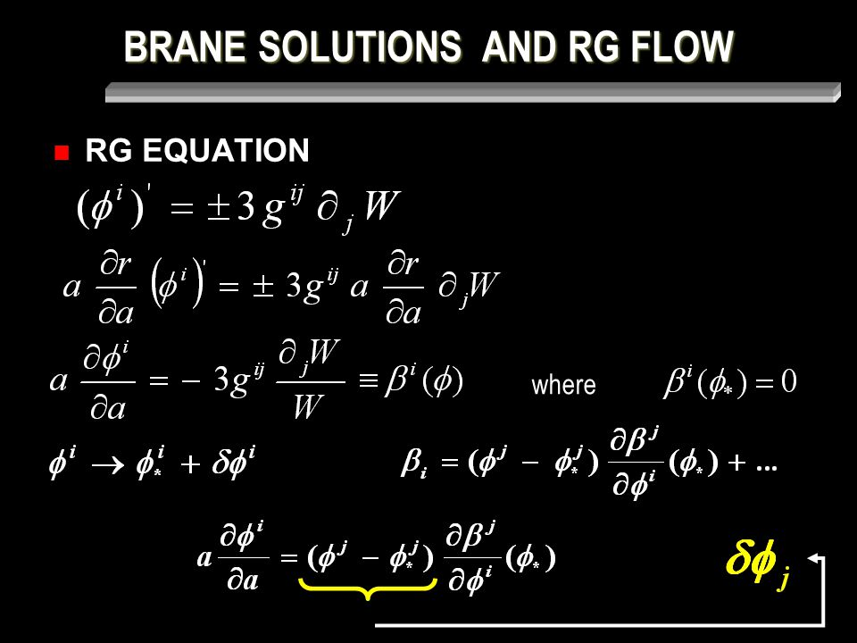 BRANE SOLUTIONS AND RG FLOW RG EQUATION where