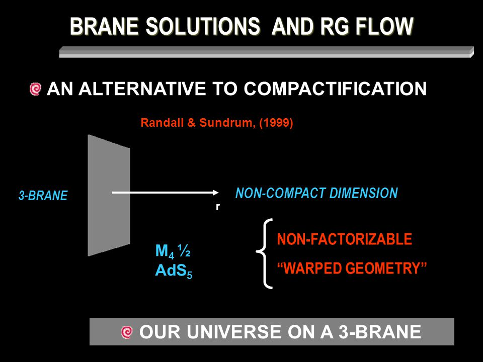 BRANE SOLUTIONS AND RG FLOW SPECIAL GEOMETRIES ii) GRAVITY LOCALIZATION < 0 AdS5 solution: a (r) = e -k r  i = c i a | | : IR FIXED POINT STABLE CRITICAL POINT r →∞ a → 0  i → 0 ; r e 2 A ( r)