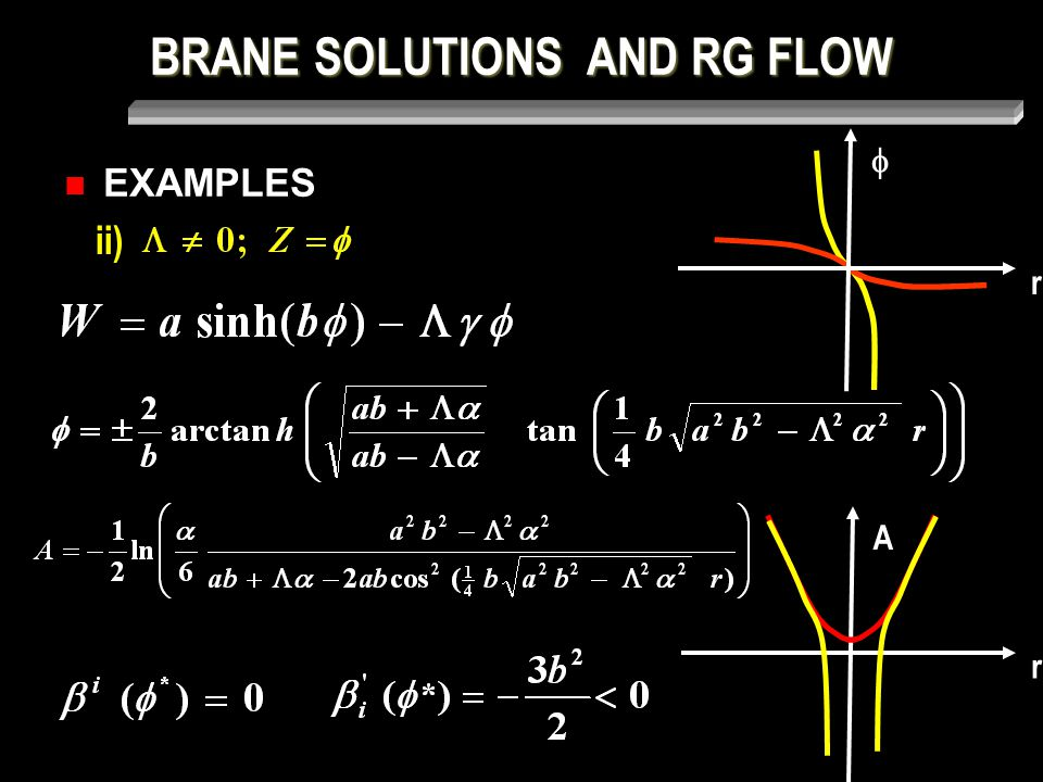 BRANE SOLUTIONS AND RG FLOW ii) EXAMPLES  r A r