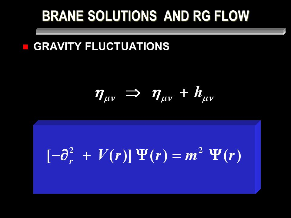 BRANE SOLUTIONS AND RG FLOW GRAVITY FLUCTUATIONS H  (r) = m 2  (r) H = Q + Q Q =  r + 3  r A(r) _ 2