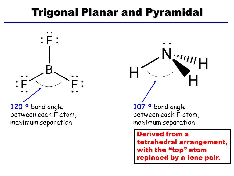 Trigonal Planar and Pyramidal 120 º bond angle between each F atom, maximum separation 107 º bond angle between each F atom, maximum separation Derive