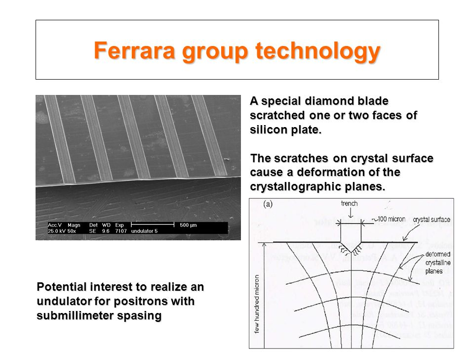 Ferrara group technology A special diamond blade scratched one or two faces of silicon plate.