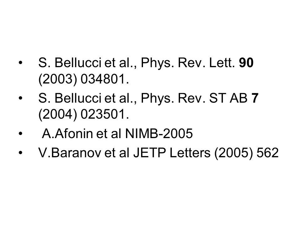S. Bellucci et al., Phys. Rev. Lett. 90 (2003) 034801.