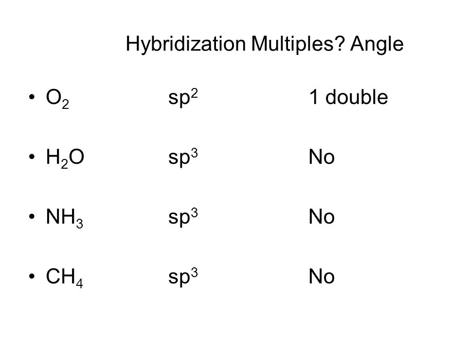 Hybridization Multiples Angle O 2 sp 2 1 double H 2 Osp 3 No NH 3 sp 3 No CH 4 sp 3 No
