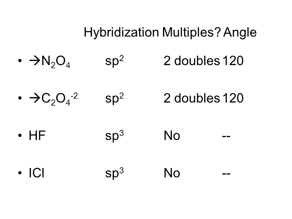  N 2 O 4 sp 2 2 doubles120  C 2 O 4 -2 sp 2 2 doubles120 HFsp 3 No-- ICl sp 3 No-- Hybridization Multiples.