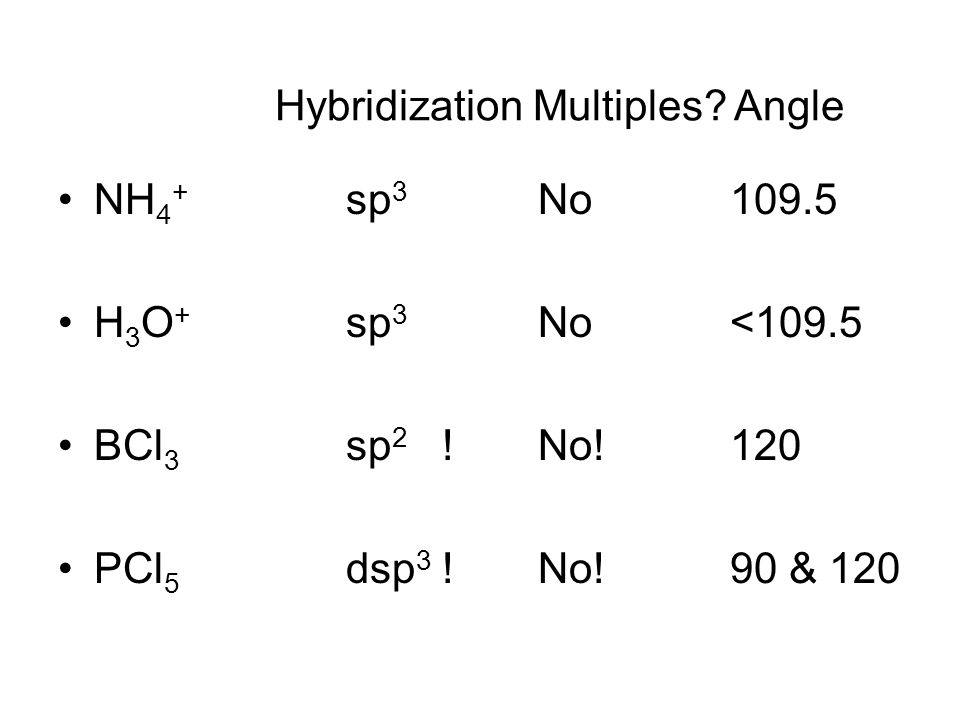NH 4 + sp 3 No109.5 H 3 O + sp 3 No<109.5 BCl 3 sp 2 !No!120 PCl 5 dsp 3 !No!90 & 120 Hybridization Multiples.