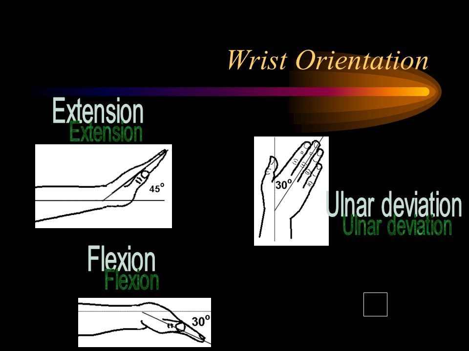 Working Conditions Forearms, wrists, and hands to be straight and parallel to floor (not pointing up/down) Wrists and hands to be straight (not bent up/down or sideways towards little finger) Upper arms and elbows to be close to body (not extended outward).