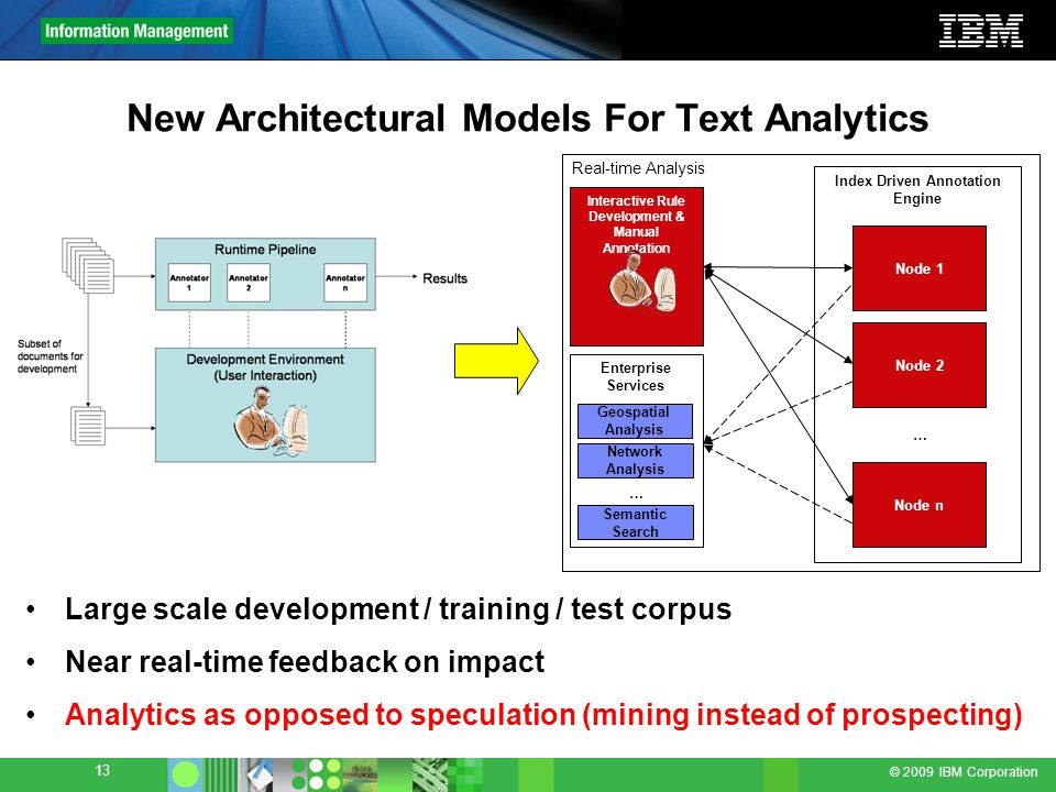 © 2009 IBM Corporation 13 New Architectural Models For Text Analytics Real-time Analysis Index Driven Annotation Engine Node 1 … Interactive Rule Development & Manual Annotation Enterprise Services Geospatial Analysis Network Analysis Semantic Search … Node 1 Node 2 Node n Large scale development / training / test corpus Near real-time feedback on impact Analytics as opposed to speculation (mining instead of prospecting)