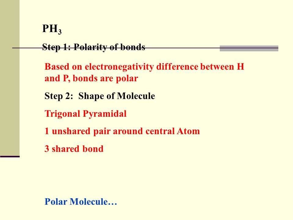 H 2 O (Water) Step 1: Polarity of bonds Based on electronegativity difference between H and O, bond is polar Step 2: Shape of molecule Based on VSEPR theory, water is bent.