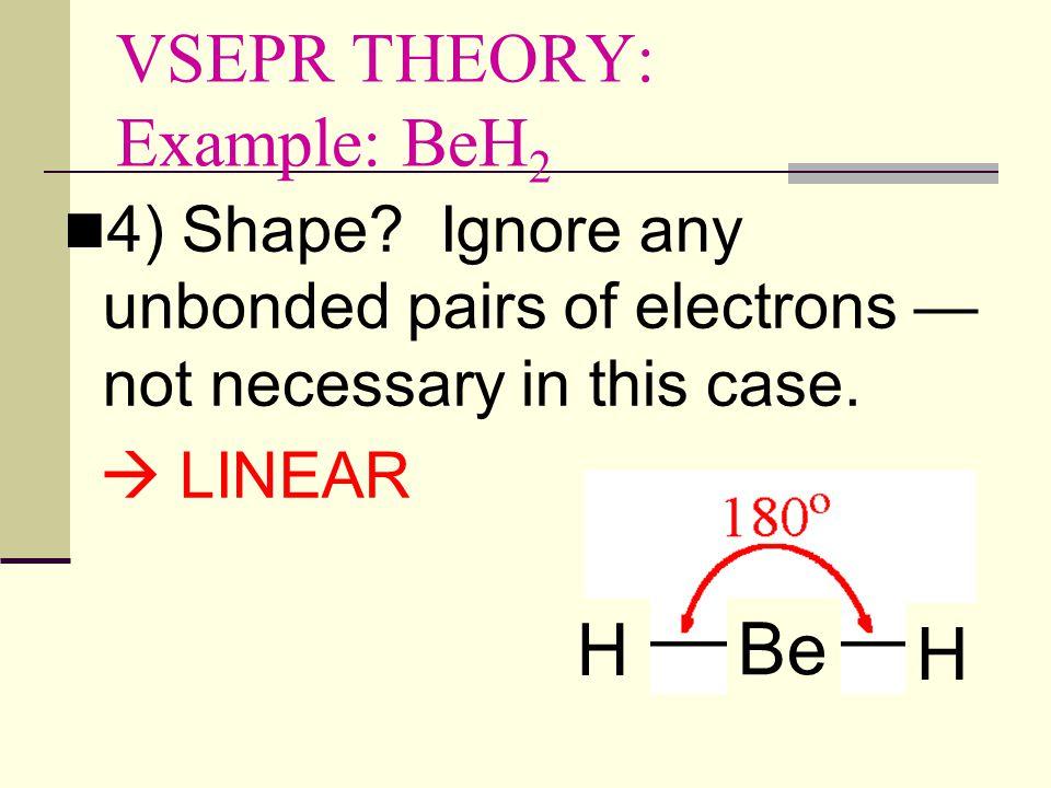 VSEPR THEORY: Example: BeH 2 4) Shape.