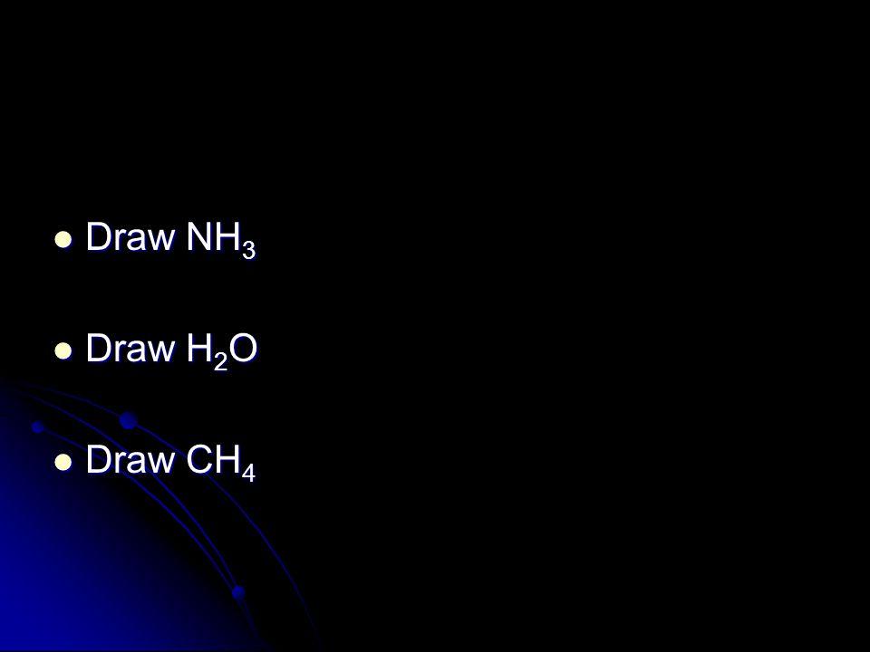 Draw NH 3 Draw NH 3 Draw H 2 O Draw H 2 O Draw CH 4 Draw CH 4