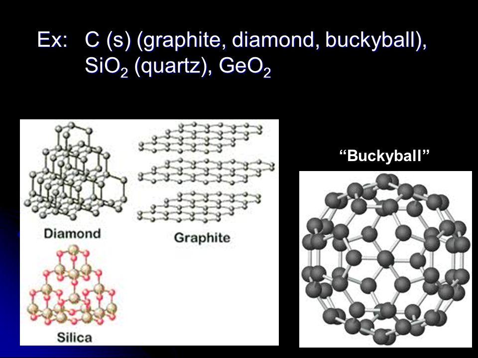 Buckyball Ex: C (s) (graphite, diamond, buckyball), SiO 2 (quartz), GeO 2