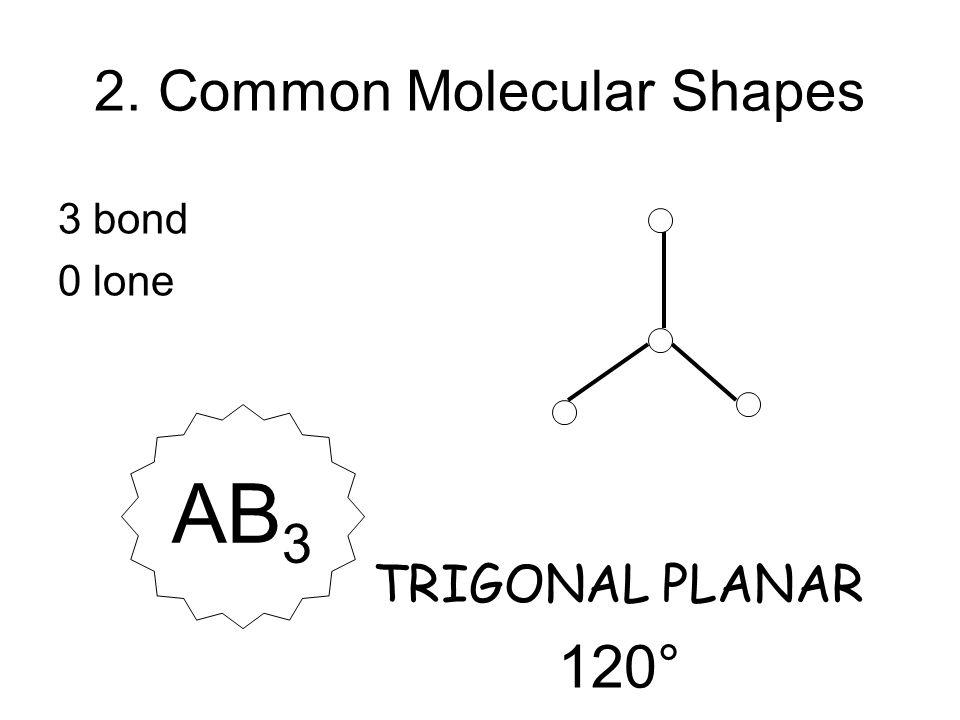 3 bond 0 lone TRIGONAL PLANAR 120° AB 3 2. Common Molecular Shapes