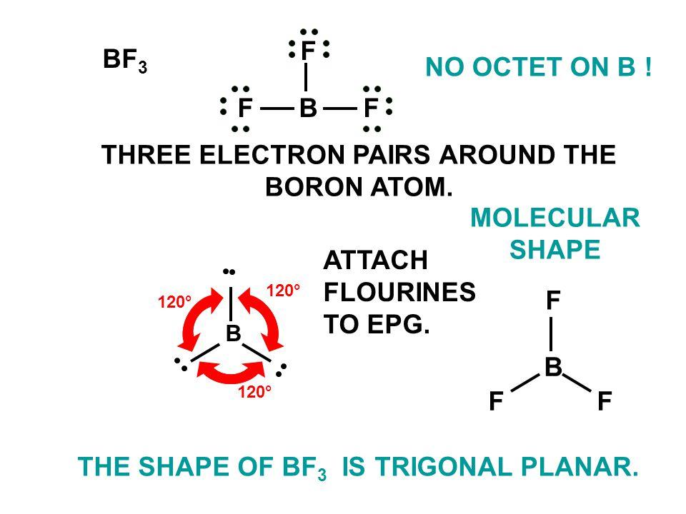 B 120° FF F B THE SHAPE OF BF 3 IS TRIGONAL PLANAR.