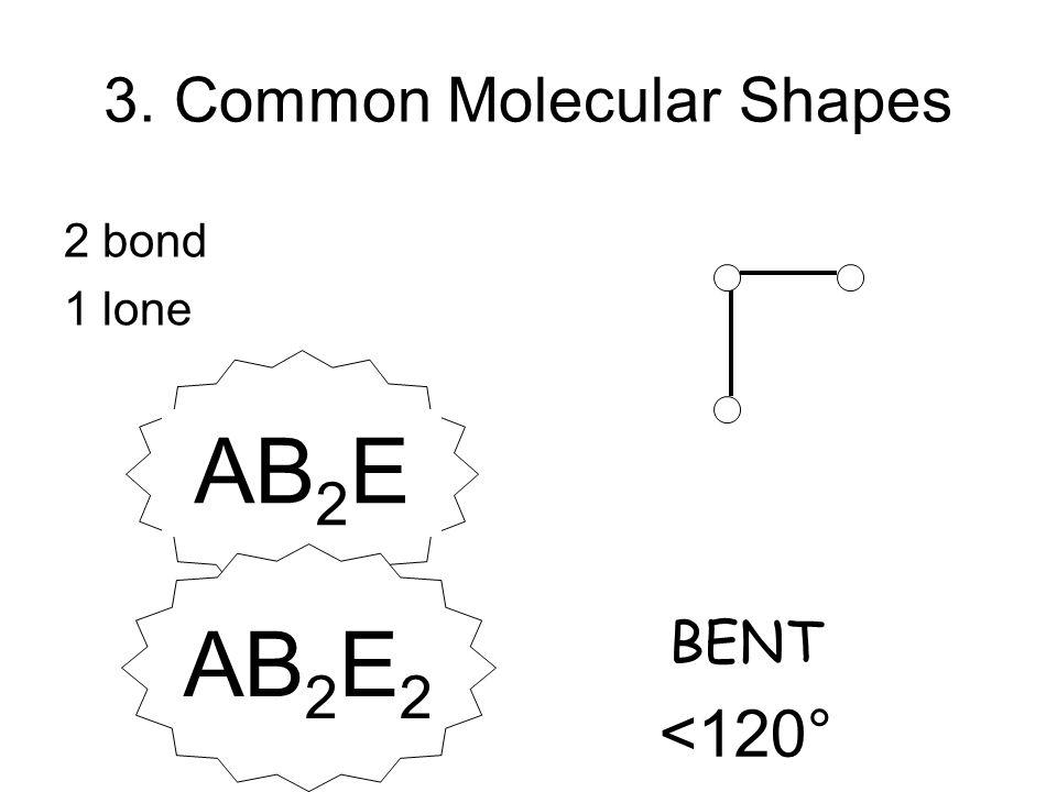 3. Common Molecular Shapes 2 bond 1 lone BENT <120° AB 2 EAB 2 E 2