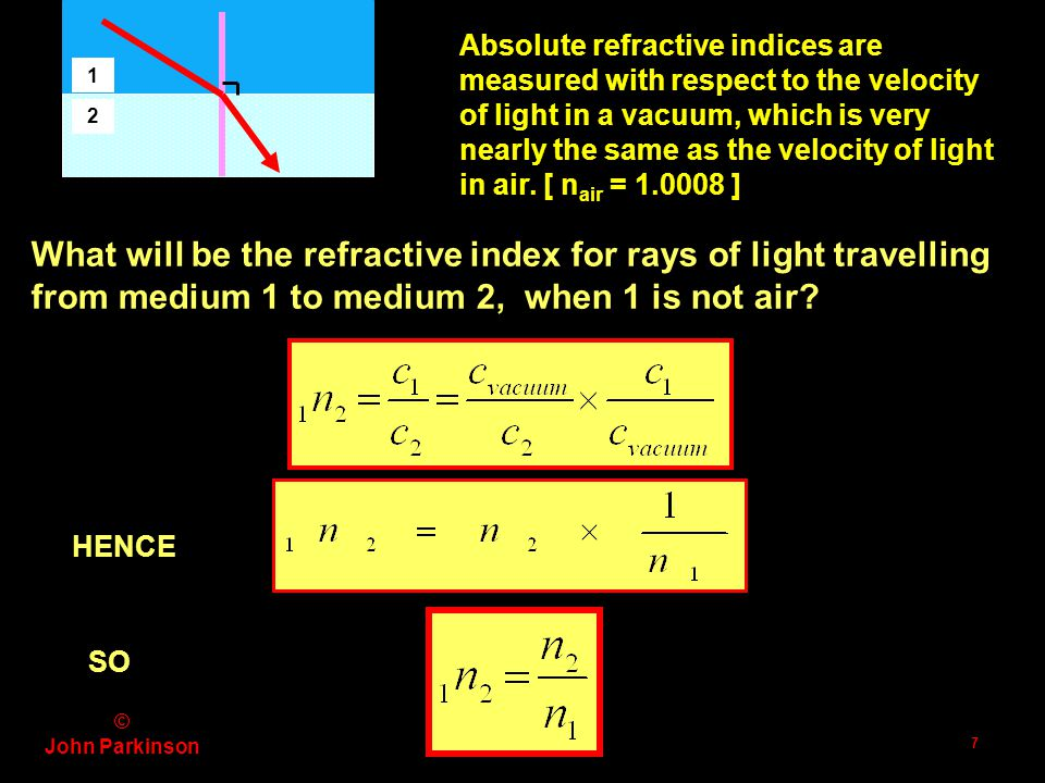 © John Parkinson 6 Incident ray normal Refracted ray 1 2 SNELL's LAW