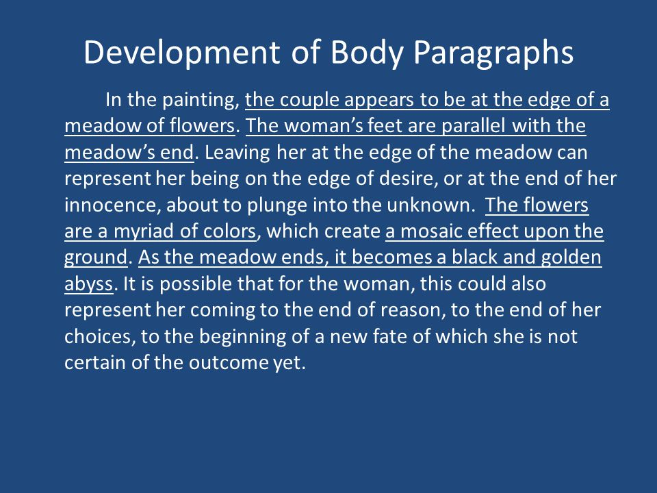Development of Body Paragraphs In the painting, the couple appears to be at the edge of a meadow of flowers.