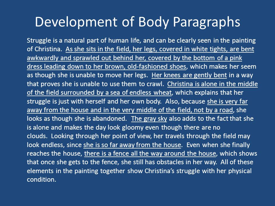 Development of Body Paragraphs Struggle is a natural part of human life, and can be clearly seen in the painting of Christina.