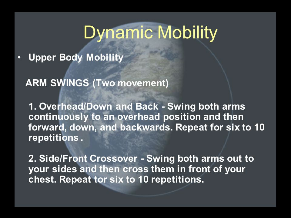 Upper Body Mobility ARM SWINGS (Two movement) 1.