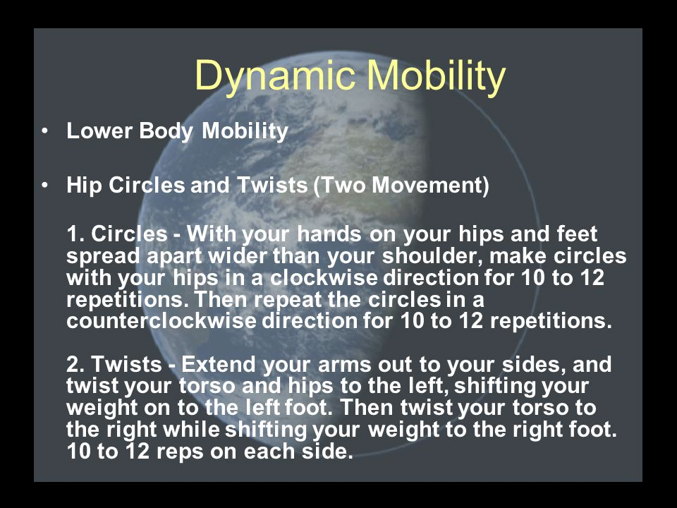 Lower Body Mobility Hip Circles and Twists (Two Movement) 1.