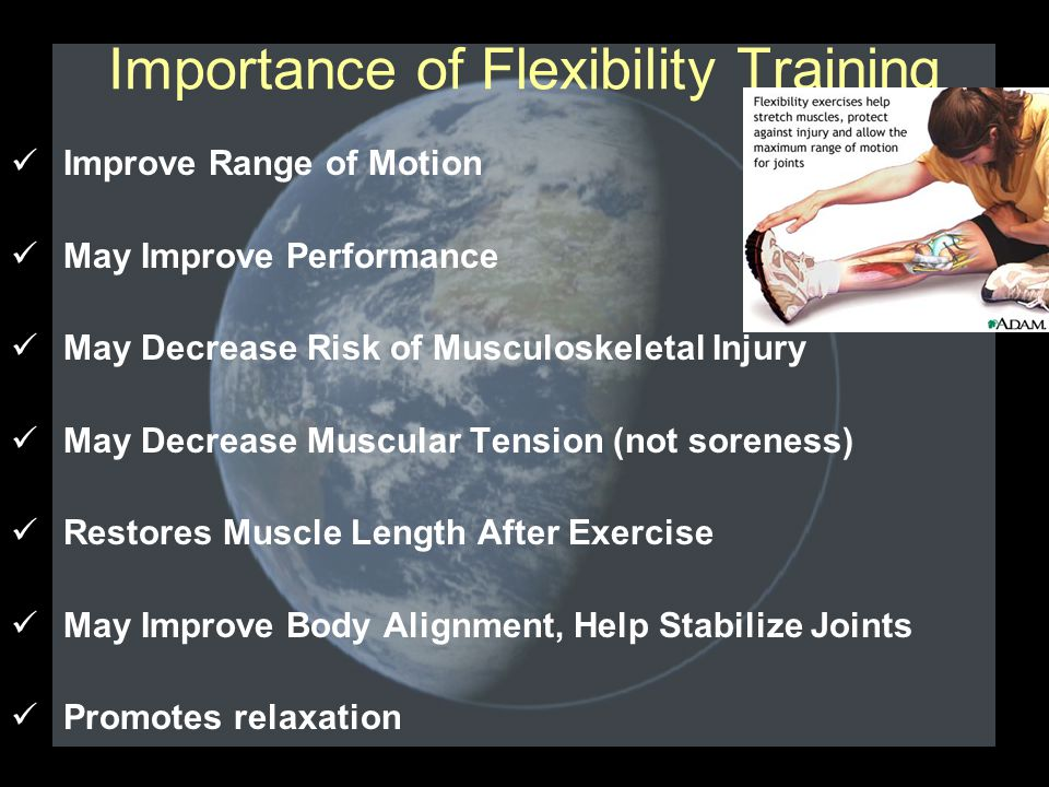 Importance of Flexibility Training Improve Range of Motion May Improve Performance May Decrease Risk of Musculoskeletal Injury May Decrease Muscular Tension (not soreness) Restores Muscle Length After Exercise May Improve Body Alignment, Help Stabilize Joints Promotes relaxation