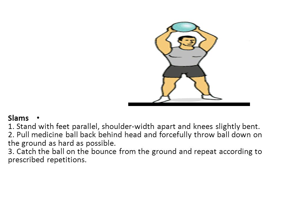 Slams 1. Stand with feet parallel, shoulder-width apart and knees slightly bent.