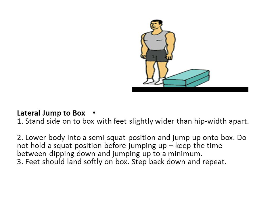 Lateral Jump to Box 1. Stand side on to box with feet slightly wider than hip-width apart.