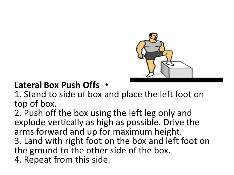 Lateral Box Push Offs 1. Stand to side of box and place the left foot on top of box.