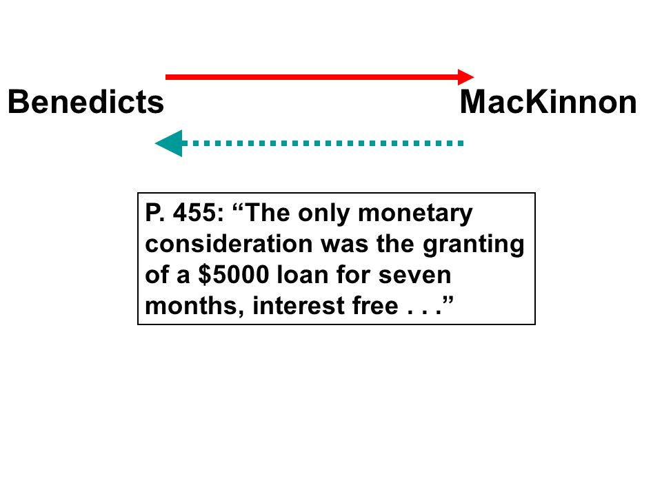 "BenedictsMacKinnon P. 455: ""The only monetary consideration was the granting of a $5000 loan for seven months, interest free..."""