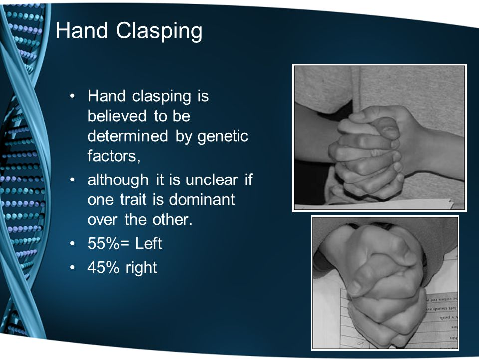 Hand Clasping Hand clasping is believed to be determined by genetic factors, although it is unclear if one trait is dominant over the other. 55%= Left