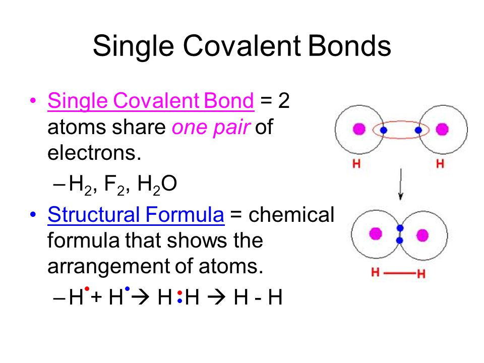 Single Covalent Bonds Single Covalent Bond = 2 atoms share one pair of electrons. –H 2, F 2, H 2 O Structural Formula = chemical formula that shows th