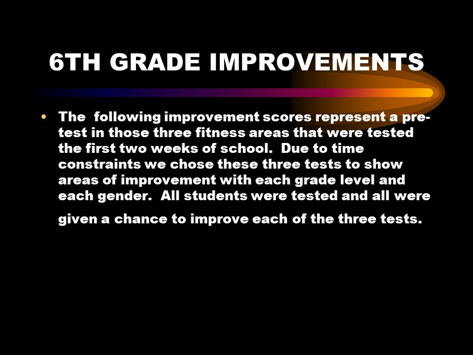 6TH GRADE IMPROVEMENTS The following improvement scores represent a pre- test in those three fitness areas that were tested the first two weeks of school.