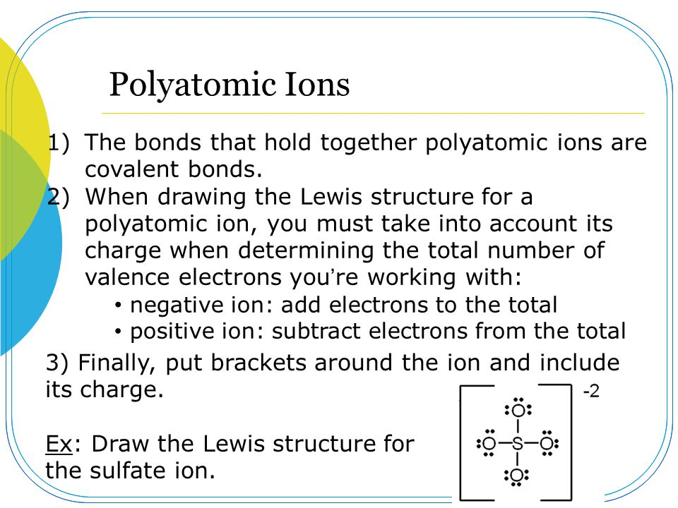 Polyatomic Ions 1)The bonds that hold together polyatomic ions are covalent bonds. 2)When drawing the Lewis structure for a polyatomic ion, you must t