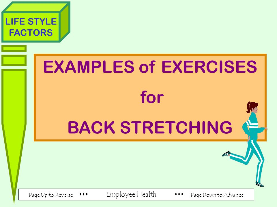 Page Up to Reverse  Employee Health  Page Down to Advance LIFE STYLE FACTORS EXAMPLES of EXERCISES for BACK STRETCHING