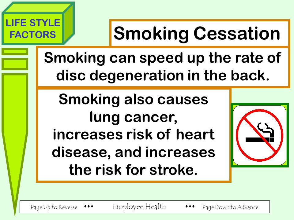 Page Up to Reverse  Employee Health  Page Down to Advance LIFE STYLE FACTORS Smoking Cessation Smoking can speed up the rate of disc degeneration in the back.