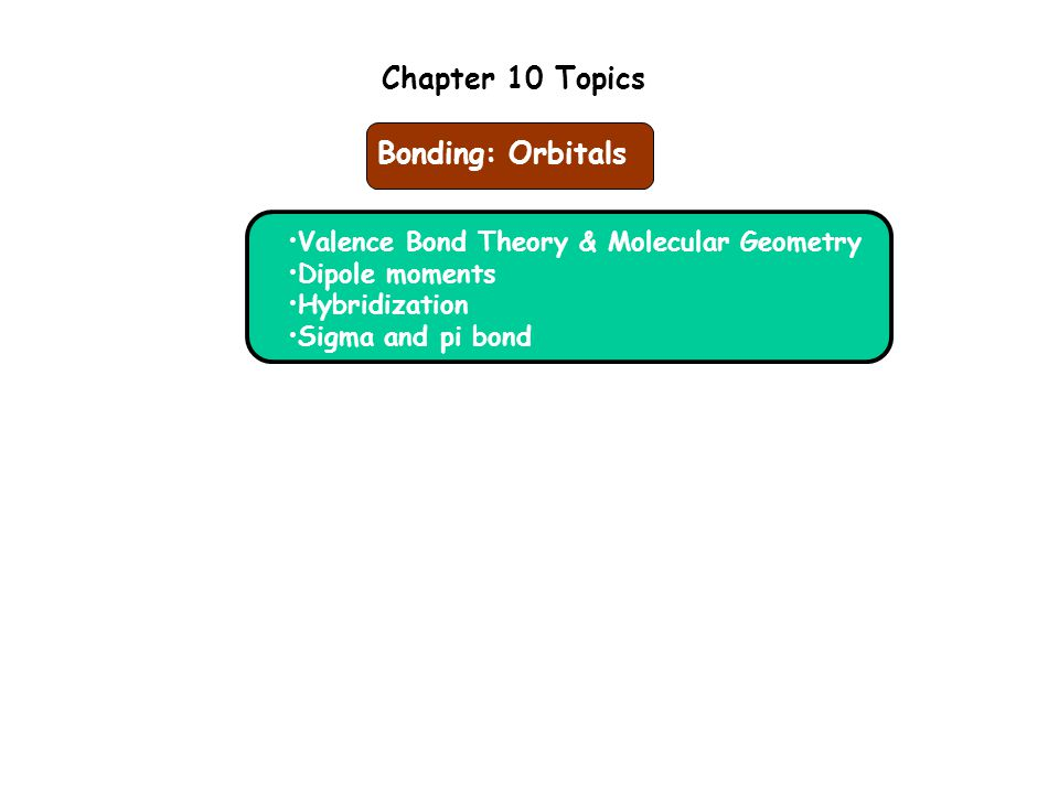 Chapter 10 Topics Valence Bond Theory & Molecular Geometry Dipole moments Hybridization Sigma and pi bond Bonding: Orbitals