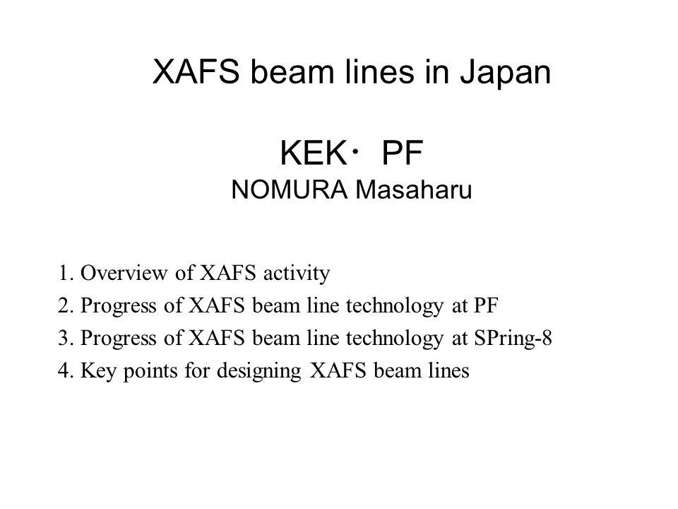 XAFS beam lines in Japan KEK ・ PF NOMURA Masaharu 1.