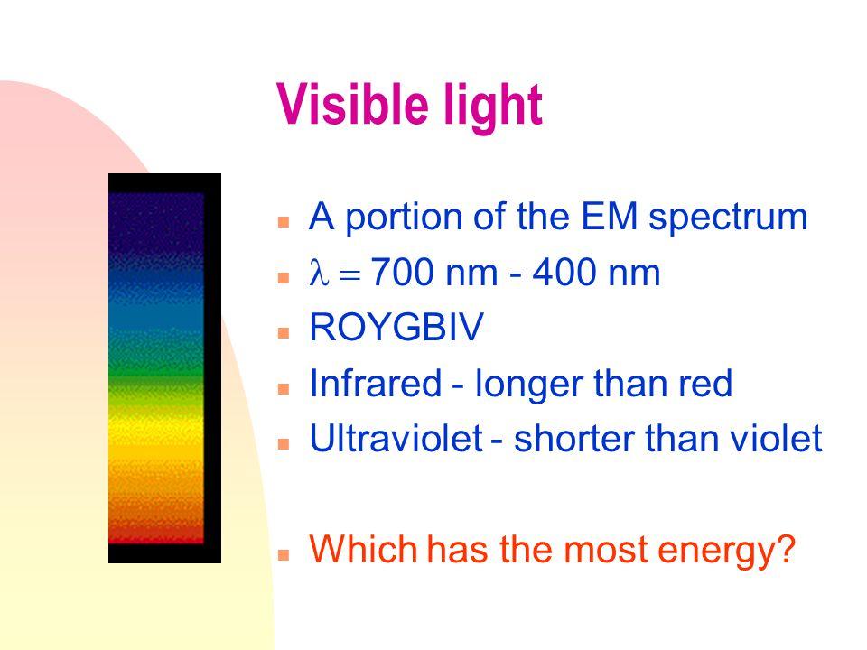 Relationships As wavelength,  increases  frequency,, decreases u energy decreases.