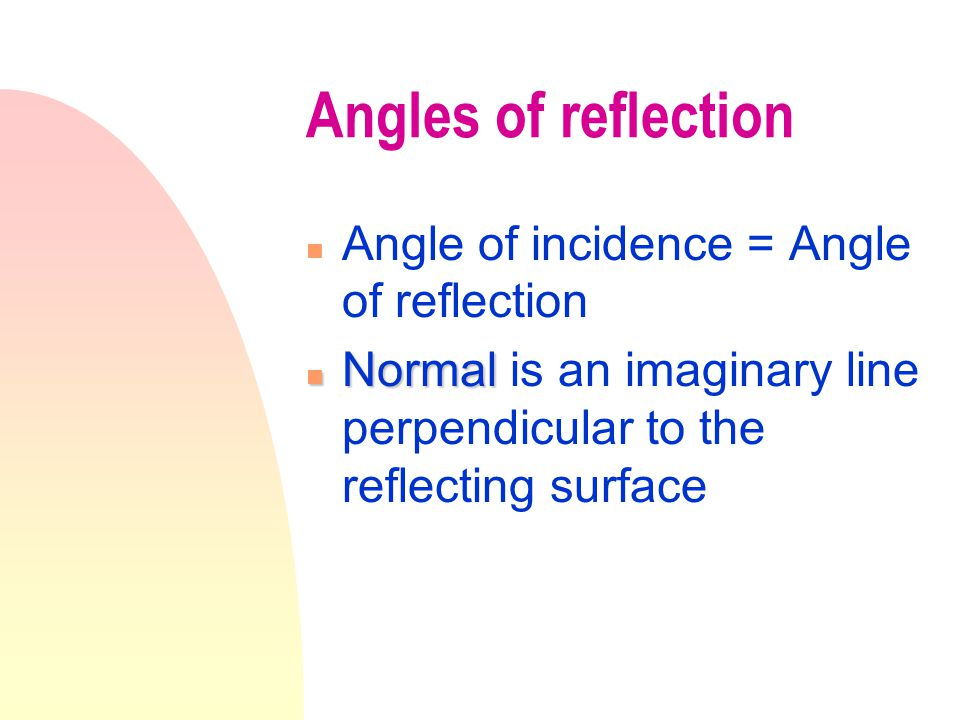 Angles of Reflection Normal, at 90 o from surface