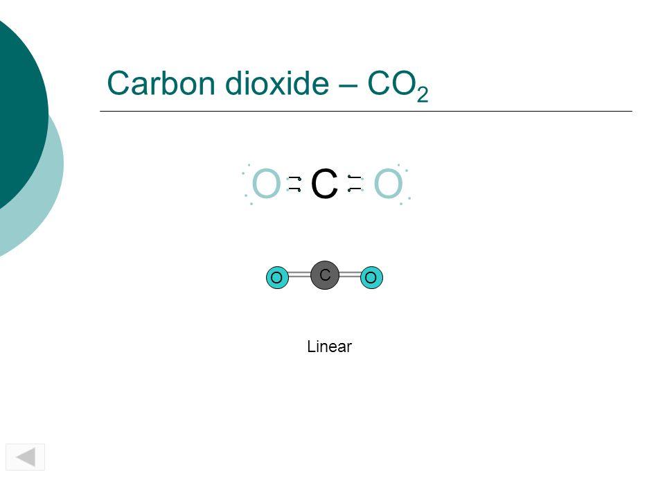 Carbon dioxide – CO 2 OO C Linear CO O